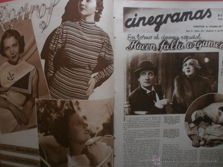 Cine: CINEGRAMAS Nº23.1935.DOLORES DEL RIO.CATALINA BARCENA,MAX BAER,VICENTE PADULA,FREDRIC MARCH,M.LINDER - Foto 2 - 40964482