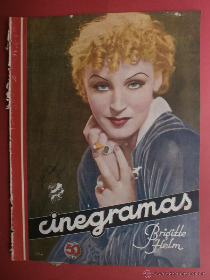CINEGRAMAS Nº19.1935.BRIGITTE HELM.JEAN MURAT,SYLVIA SIDNEY,MARLENE DIETRICH,GRETA GARBO. (Cine - Revistas - Cinegramas)