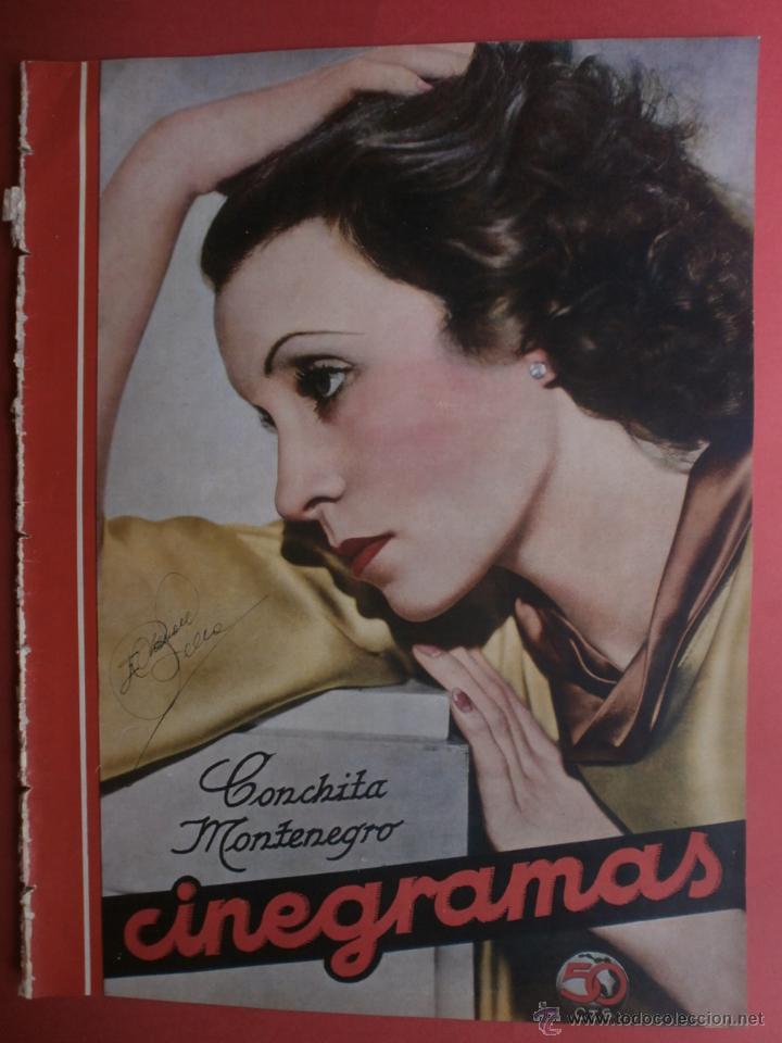 CINEGRAMAS Nº15.1934.CONCHITA MONTENEGRO.GRETA GARBO,MARLENE DIETRICH,GARY COOPER,GRACE MOORE. (Cine - Revistas - Cinegramas)