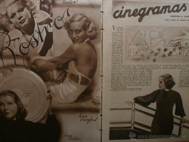 Cine: CINEGRAMAS Nº15.1934.CONCHITA MONTENEGRO.GRETA GARBO,MARLENE DIETRICH,GARY COOPER,GRACE MOORE. - Foto 2 - 40966349