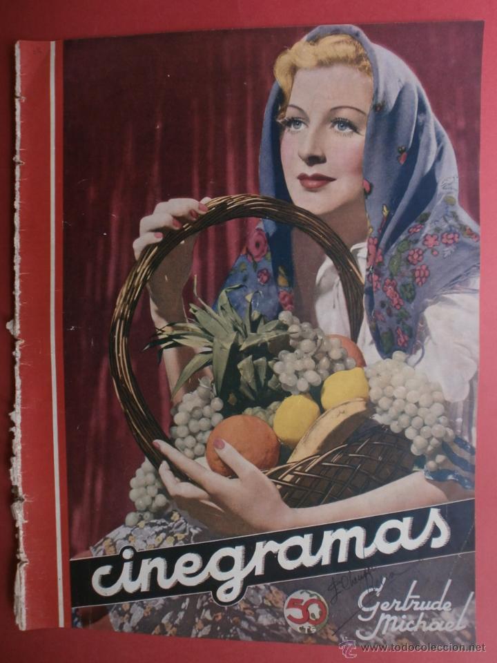 CINEGRAMAS Nº12.1934.GERTRUDE MICHAEL.IRENE LOPEZ HEREDIA,JAMES CAGNEY,KAY FRANCIS,CATALINA BARCENA. (Cine - Revistas - Cinegramas)