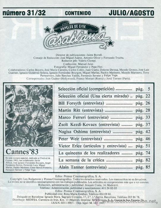 Cine: PAPELES DE CINE CASABLANCA - Nº 31-32 - 1983 - CANNES, PETER WEIR, EL SUR, VICTOR ERICE - Foto 2 - 41039610