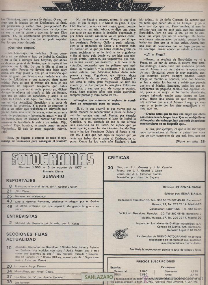 REVISTA NUEVO FOTOGRAMAS - Nº 1503- AÑO 1977 -MASSIEL-L.TAYLOR-BERLANGA- 47 PAG. (Cine - Revistas - Fotogramas)