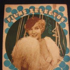 Cine: FILMS SELECTOS Nº 124. 25 FEB. 1933.SUPLEMENTO ARTISTICO JOSE MOJICA.. Lote 42164975