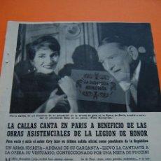 Cine: ARTICULO REVISTA -1958- MARIA CALLAS CANTA EN PARIS FOTOS BRIGITTE BARDOT Y OTRAS ESTRELLAS- 8 PAG.. Lote 44427929