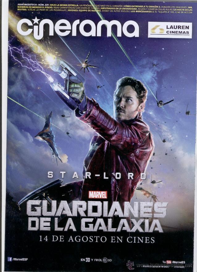 REVISTA CINERAMA ** JULIO-AGOSTO 2014 - PORTADA: STAR- LORD * GUARDIANES DE LA GALAXIA (MARVEL) (Cine - Revistas - Cinerama)