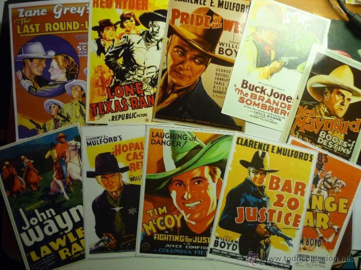 LOTE REPRODUCCIONES PAPEL PELICULAS OESTE ANTIGUAS.-PAPEL Y FOTO CARTELES EXTRANJEROS (Cine - Reproducciones de carteles, folletos...)