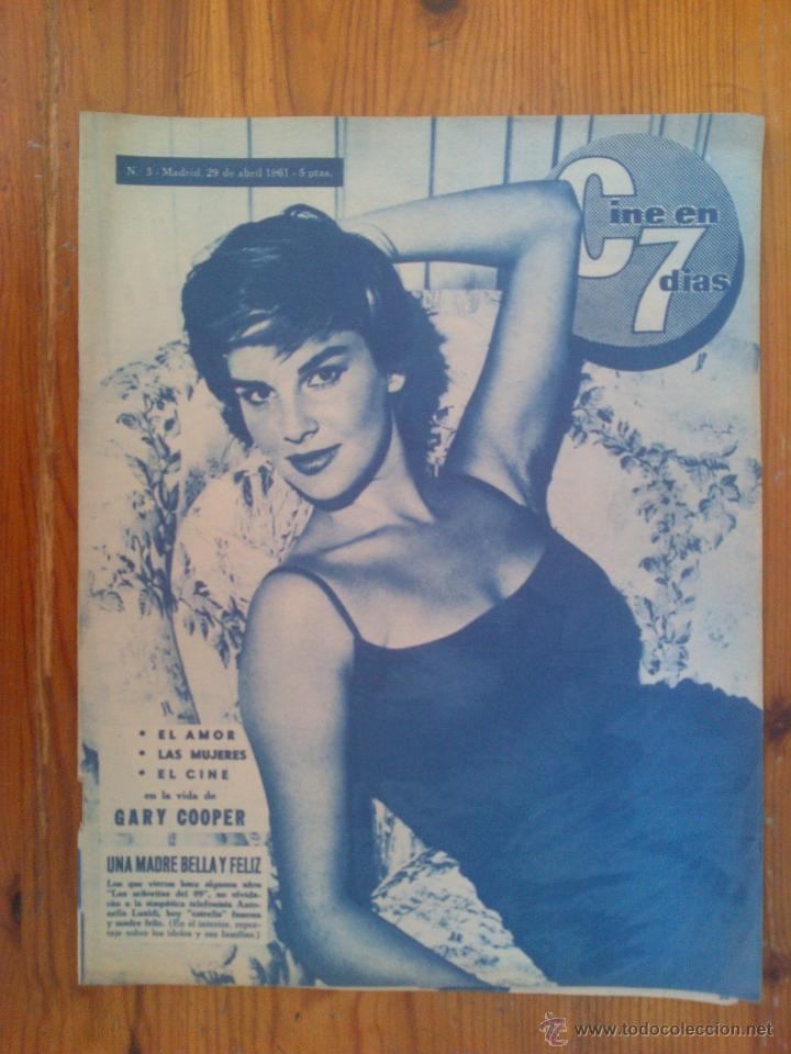 CINE EN 7 DÍAS, Nº 3, ABRIL DE 1961. ANTONELLA LUALDI. GARY COOPER. CHICAS CINE FRANCÉS. DIANA DORS (Cine - Revistas - Cine en 7 dias)