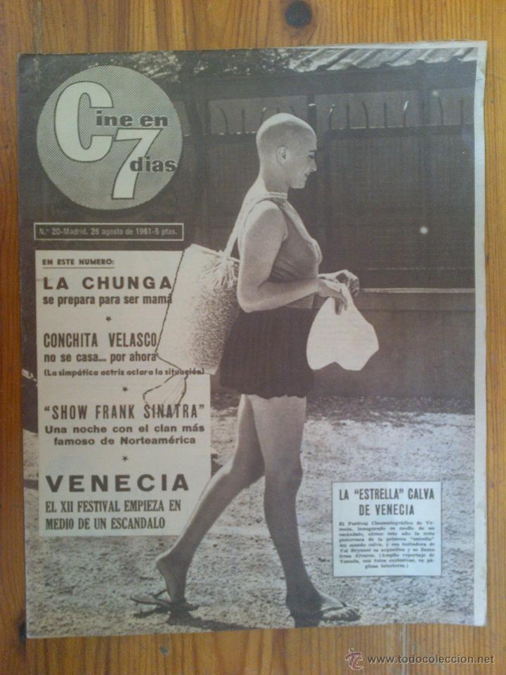 CINE EN 7 DÍAS, Nº 20, DE AGOSTO DE 1961. IRMA ALVAREZ. CONCHITA VELASCO. LA CHUNGA. FRANK SINATRA (Cine - Revistas - Cine en 7 dias)
