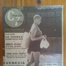 Cine: CINE EN 7 DÍAS, Nº 20, DE AGOSTO DE 1961. IRMA ALVAREZ. CONCHITA VELASCO. LA CHUNGA. FRANK SINATRA. Lote 45247594
