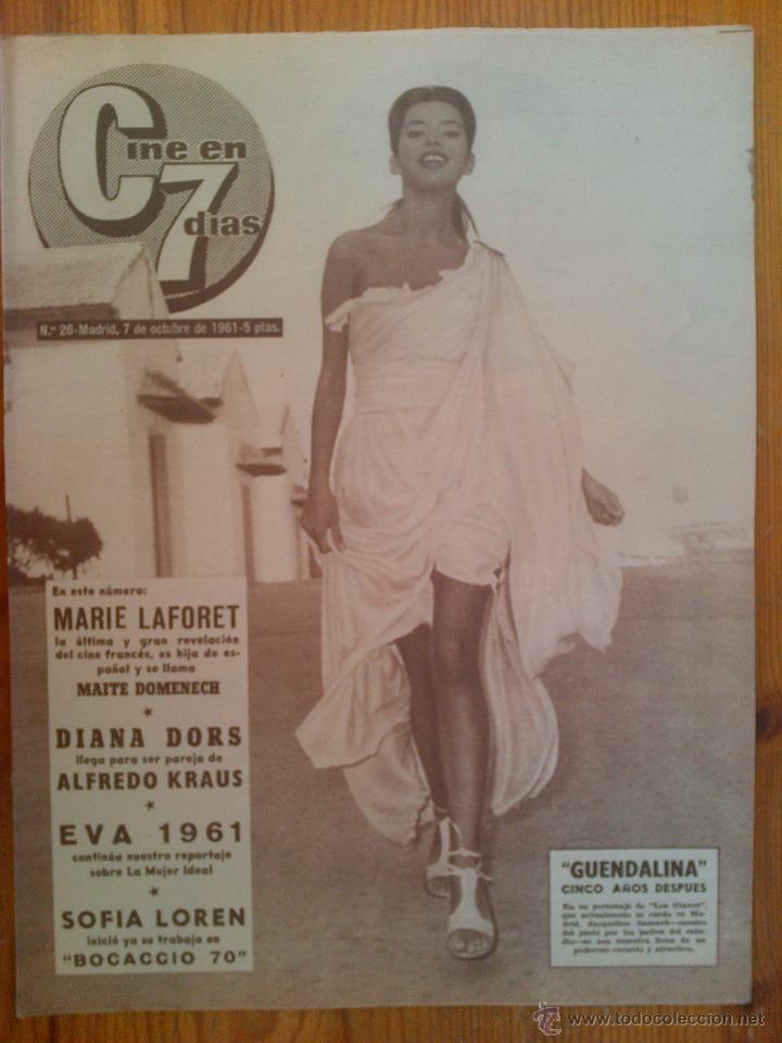 CINE EN 7 DÍAS, Nº 26, DE OCTUBRE DE 1961. PORTADA JACQUELINE SASSARD. MARIE LAFORET.BRIGITTE BARDOT (Cine - Revistas - Cine en 7 dias)