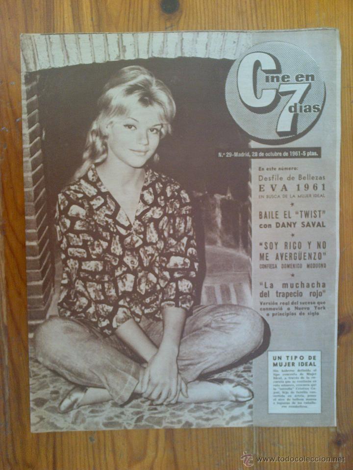 CINE EN 7 DÍAS, Nº 29, DE OCTUBRE DE 1961. PORTADA CRISTINA GAJENI. GERMÁN COBOS. DOMENICO MODUGNO (Cine - Revistas - Cine en 7 dias)