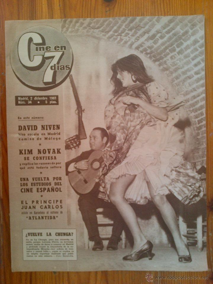 CINE EN 7 DÍAS, Nº 34, DE DICIEMBRE DE 1961. LORENZA FLORES. DAVID NIVEN. KIM NOVAK. SOFÍA LOREN (Cine - Revistas - Cine en 7 dias)
