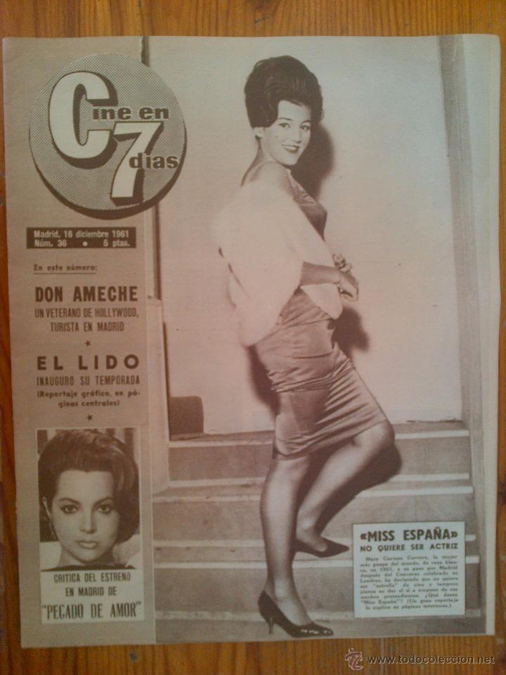 CINE EN 7 DÍAS, Nº 36, DE DICIEMBRE DE 1961. TITA CERVERA, AVA GARDNER. DON AMECHE. SOFÍA LOREN (Cine - Revistas - Cine en 7 dias)