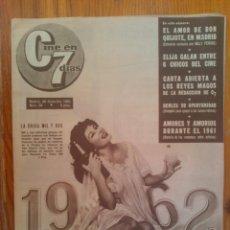 Cine: CINE EN 7 DÍAS, Nº 38, DE DICIEMBRE DE 1961. LIZ TAYLOR. BODA MERLO Y LARRAÑAGA. DIANA LORYS. Lote 45249450