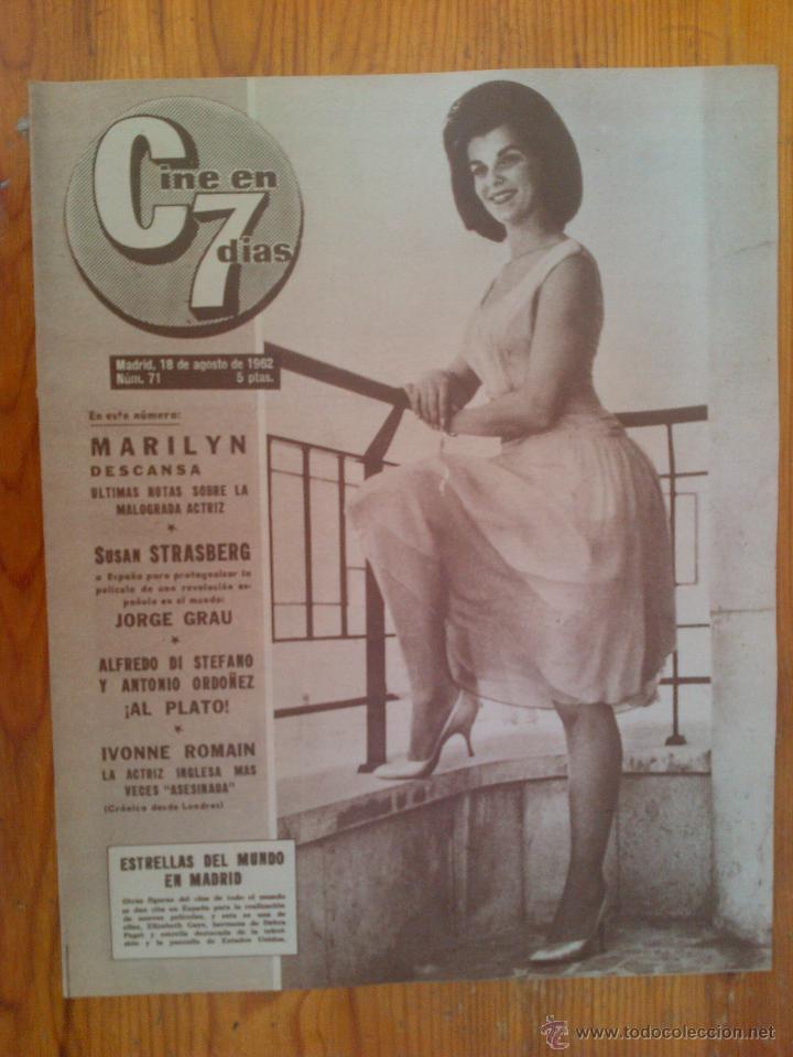 CINE EN 7 DÍAS, Nº 71, DE AGOSTO DE 1962. PORTADA ELIZABETH GAYE. MARILYN MONROE. FRANK SINATRA (Cine - Revistas - Cine en 7 dias)