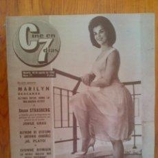 Cine: CINE EN 7 DÍAS, Nº 71, DE AGOSTO DE 1962. PORTADA ELIZABETH GAYE. MARILYN MONROE. FRANK SINATRA. Lote 45249685