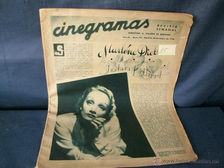 REVISTA CINEGRAMAS-Nº72-MARLENE DIETRICH-AÑO 1936. (Cine - Revistas - Cinegramas)