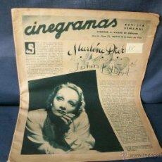Cine: REVISTA CINEGRAMAS-Nº72-MARLENE DIETRICH-AÑO 1936.. Lote 45793988