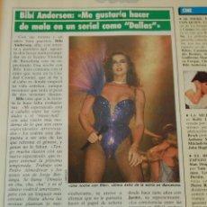 Cine: ARTICULO - 1985 - BIBI ANDERSEN ME GUSTARIA HACER DE MALA EN DALLAS - 1 PAGINA. Lote 46235931