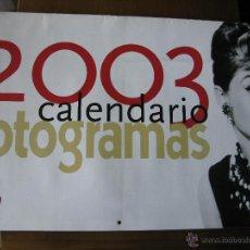 Cine: CALENDARIO 2003. FOTOGRAMAS. AUDREY HEPBURN, MARILYN MONROE, ROCK HUDSON, AVA GARDNER, ETC.. Lote 46682579