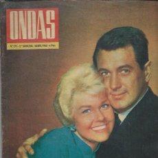 Cine: REVISTA ONDAS Nº 295 MARZO 1965, DORIS DAY Y ROCK HUDSON, ISABEL II, LIZ TAYLOR, GERALDINE CHAPLIN. Lote 46749058