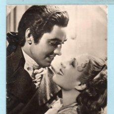 Cine: POSTAL DE ACTRICES DE CINE HOLLYWOOD NOMA SHEARER Y TYRONE POWER ESCRITA EL AÑO 1949. Lote 46906617