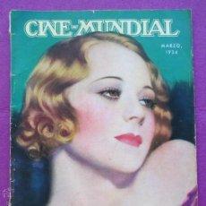 Cinema: REVISTA CINE, CINE - MUNDIAL, MARZO 1934, SALLY EILERS, RC10. Lote 47660637