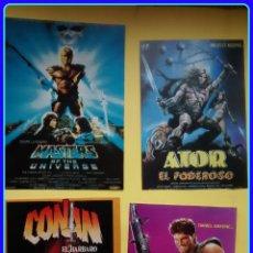 Cine: LOTE 4 REPRODUCCIONES CARTELES DE CINE (RECORTES DE REVISTAS): CONAN, MASTERS DEL UNIVERSO. Lote 47879606