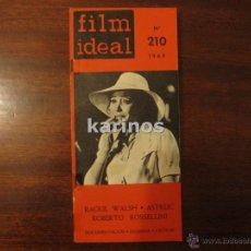 Cine: FILM IDEAL Nº 210 RAOUL WALSH. ASTRU. ROBERTO ROSELLINI. DOCUMENTACIÓN. ESQUEMA. CRITICAS (1969) C2. Lote 47913794