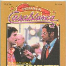 Cine: PAPELES DE CINE CASABLANCA - Nº 26 - 1983 PILAR MIRÓ, BRIAN DE PALMA, DE NIRO-LEWIS (KING OF COMEDY). Lote 48147428