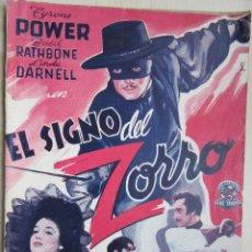 Cine: EL SIGNO DEL ZORRO TYRONE POWER BASIL RATHBONE Y LINDA DARNELL ESTRENADA 1940. Lote 48452310
