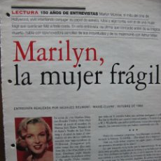 Cine: MARILYN MONROE. ENTREVISTA REALIZADA POR GEORGES BELMONT. MARIE-CLAIRE, OCT 1960. 9 PÁGS.. Lote 49255621