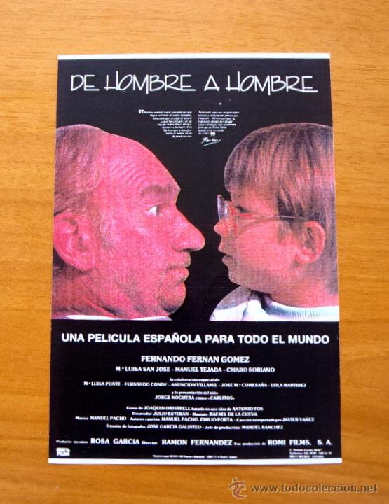 DE HOMBRE A HOMBRE - FERNANDO FERNÁN GÓMEZ, Mª LUISA SAN JOSE, MANUEL TEJADA, JORGE NOGUERA (Cine - Reproducciones de carteles, folletos...)
