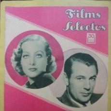 Cine: FILMS SELECTOS. AÑO IV. Nº 163. 1933.. Lote 50851091