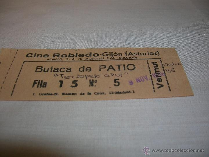 ENTRADA CINE ROBLEDO GIJÓN ASTURIAS (Cine - Revistas - Papeles de cine)