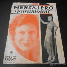 Cine: MENSAJERO PARAMOUNT - REVISTA ORIGINAL DE 1929. Lote 51548607