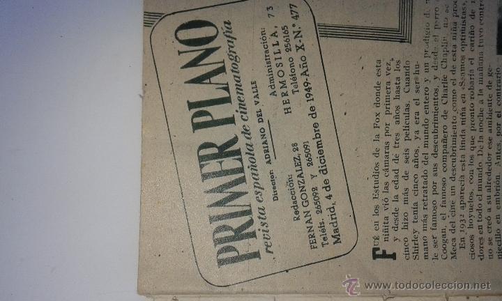 Cine: ANTIGUA REVISTA CINEMATOGRAFICA PRIMER PLANO. DICIEMBRE 1949 - Foto 3 - 51959667