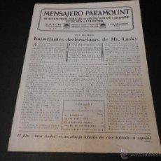 Cine: MENSAJERO PARAMOUNT - REVISTA ORIGINAL DE JULIO DE 1930. Lote 52664259