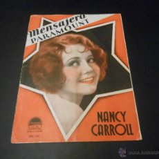 Cine: MENSAJERO PARAMOUNT - REVISTA ORIGINAL DE ABRIL DE 1931. Lote 52664613