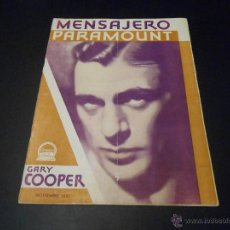 Cine: MENSAJERO PARAMOUNT - REVISTA ORIGINAL DE NOVIEMBRE DE 1931. Lote 52664763