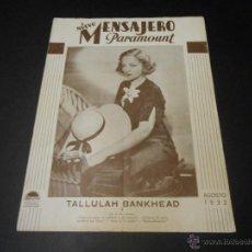 Cine: NUEVO MENSAJERO PARAMOUNT - REVISTA ORIGINAL DE AGOSTO DE 1932. Lote 52665083