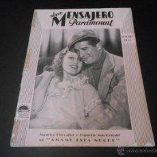 Cine: NUEVO MENSAJERO PARAMOUNT - REVISTA ORIGINAL DE OCTUBRE DE 1932. Lote 52665143