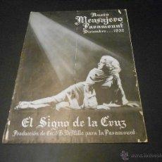 Cine: NUEVO MENSAJERO PARAMOUNT - REVISTA ORIGINAL DE DICIEMBRE DE 1932. Lote 52665199