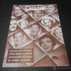 Cine: NUEVO MENSAJERO PARAMOUNT - REVISTA ORIGINAL DE AGOSTO DE 1933. Lote 52666273