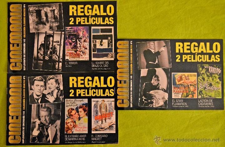 3 SUPLEMENTOS DE CINEMANÍA NÚMEROS 143-144-145, COLECCIÓN CLÁSICOS OCULTOS NÚMEROS 4-5-6. AÑO 2007. (Cine - Revistas - Cinemanía)