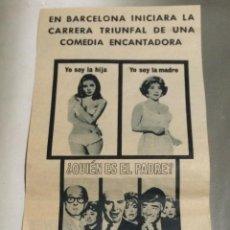 Cine: PUBLICIDAD EN PRENSA ORIGINAL DE 1968 DE 'BOUNA SERA, SRA. CAMPBELL', CON GINA LLOLLOBRIGIDA.. Lote 52734430