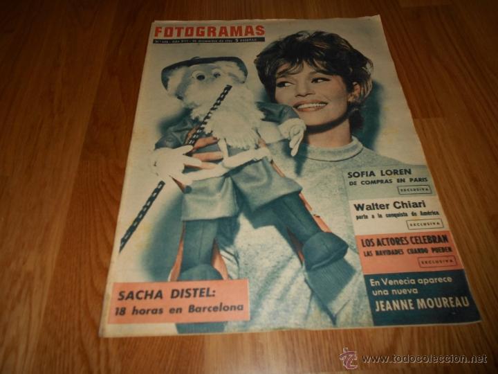 FOTOGRAMAS Nº 682 22 DICIEMBRE 1961 SACHA DISTEL SOFIA LOREN W. CHIARI MUY RARA UNICA (Cine - Revistas - Fotogramas)