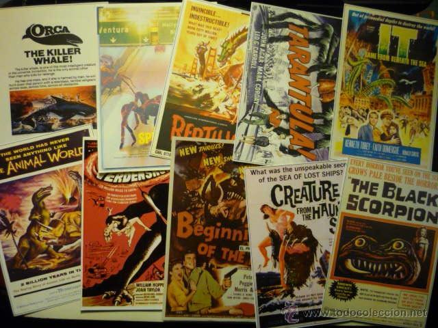 LOTE REPRODUCCIONES CARTELES EXTRANJEROS PAPEL Y FOTO -- TERROR ANIMALES TERRORIFICOS (Cine - Reproducciones de carteles, folletos...)