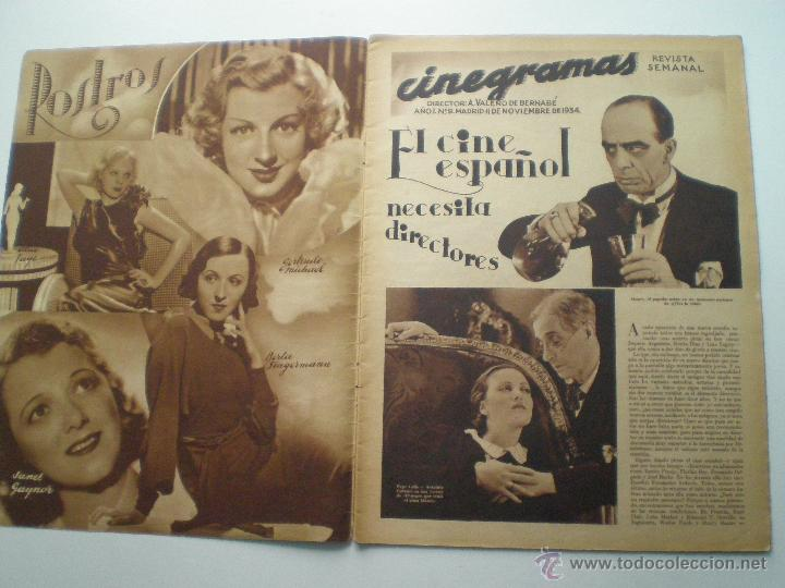 Cine: CINEGRAMAS AÑO 1 Nº 9 MADRID 11 NOV 1934 // REVISTA CINE CLAUDETTE COLBERT RONALD COLMAN ART DECO - Foto 2 - 53448162